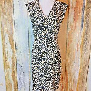 H & M Animal Print Sheath Dress sz 12